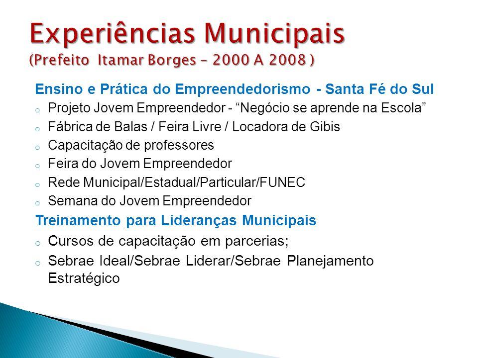 Experiências Municipais (Prefeito Itamar Borges – 2000 A 2008 )