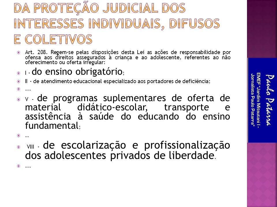 Da Proteção Judicial dos Interesses Individuais, Difusos e Coletivos