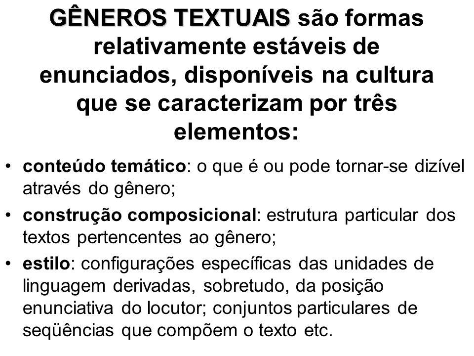 GÊNEROS TEXTUAIS são formas relativamente estáveis de enunciados, disponíveis na cultura que se caracterizam por três elementos: