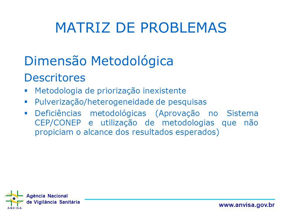 MATRIZ DE PROBLEMAS Dimensão Metodológica Descritores