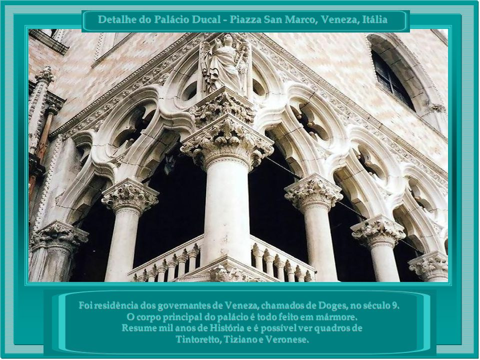 Detalhe do Palácio Ducal - Piazza San Marco, Veneza, Itália