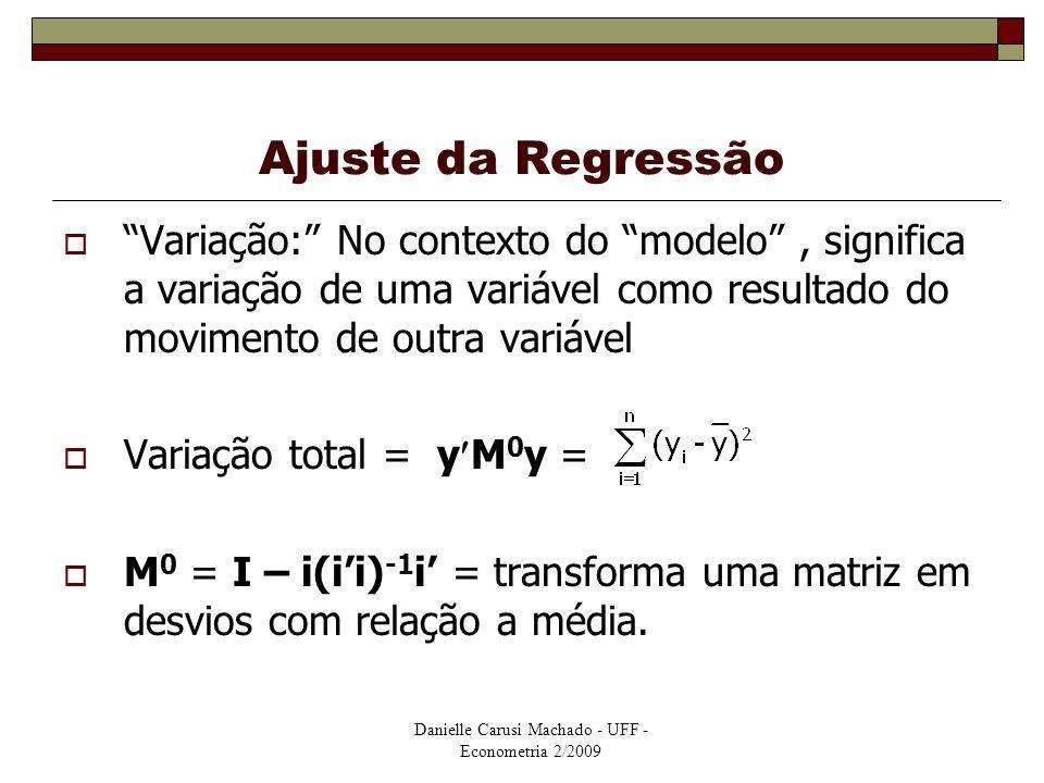 Ajuste da Regressão Variação: No contexto do modelo , significa a variação de uma variável como resultado do movimento de outra variável.
