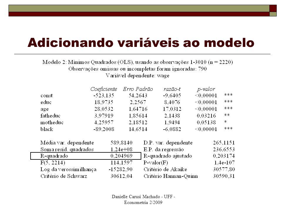 Adicionando variáveis ao modelo