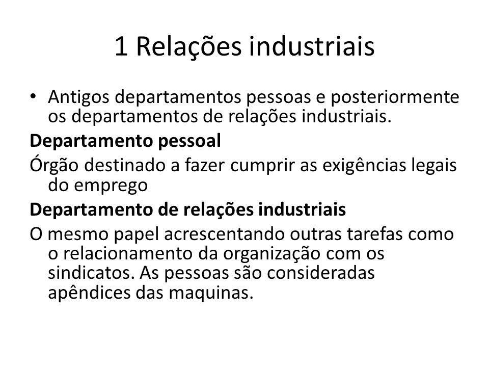 1 Relações industriais Antigos departamentos pessoas e posteriormente os departamentos de relações industriais.