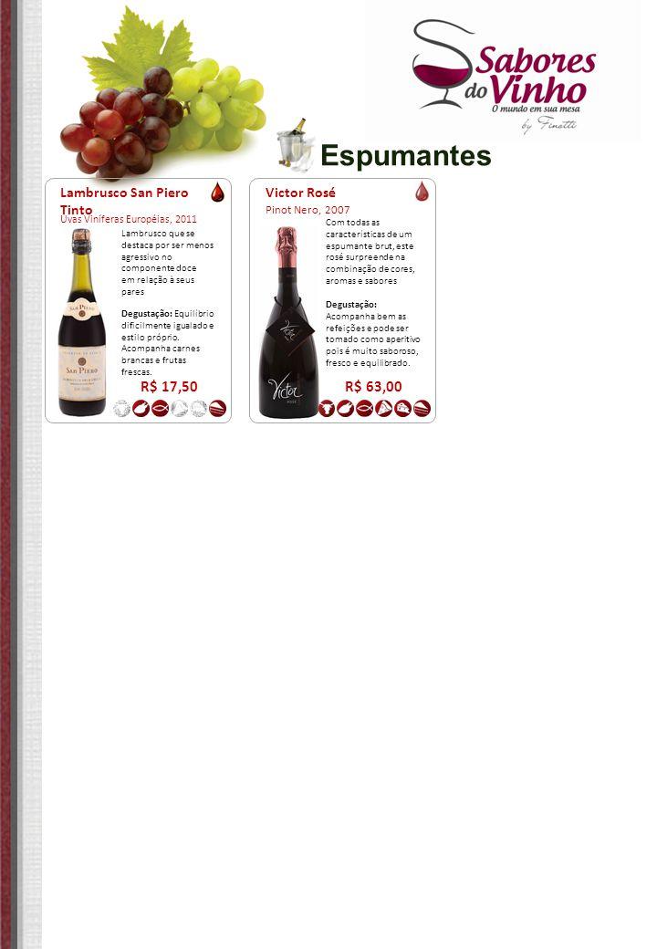 Espumantes R$ 17,50 R$ 63,00 Lambrusco San Piero Tinto Victor Rosé