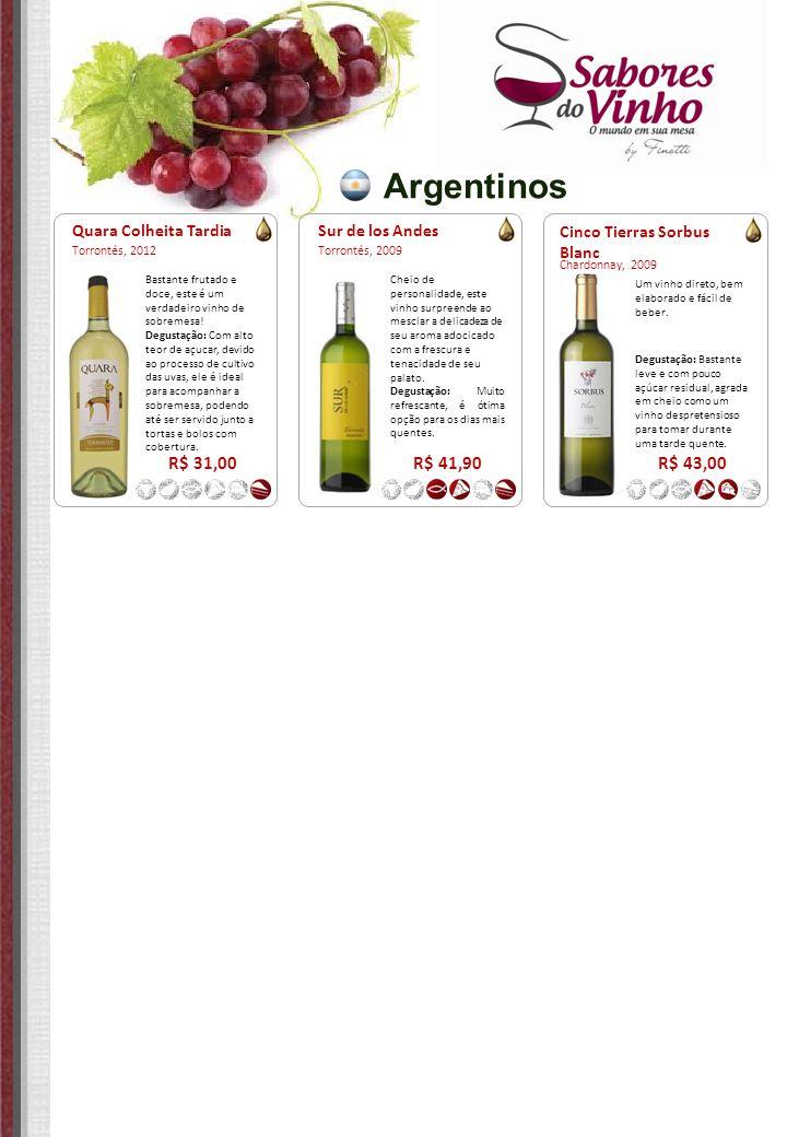Argentinos R$ 31,00 R$ 41,90 R$ 43,00 Quara Colheita Tardia