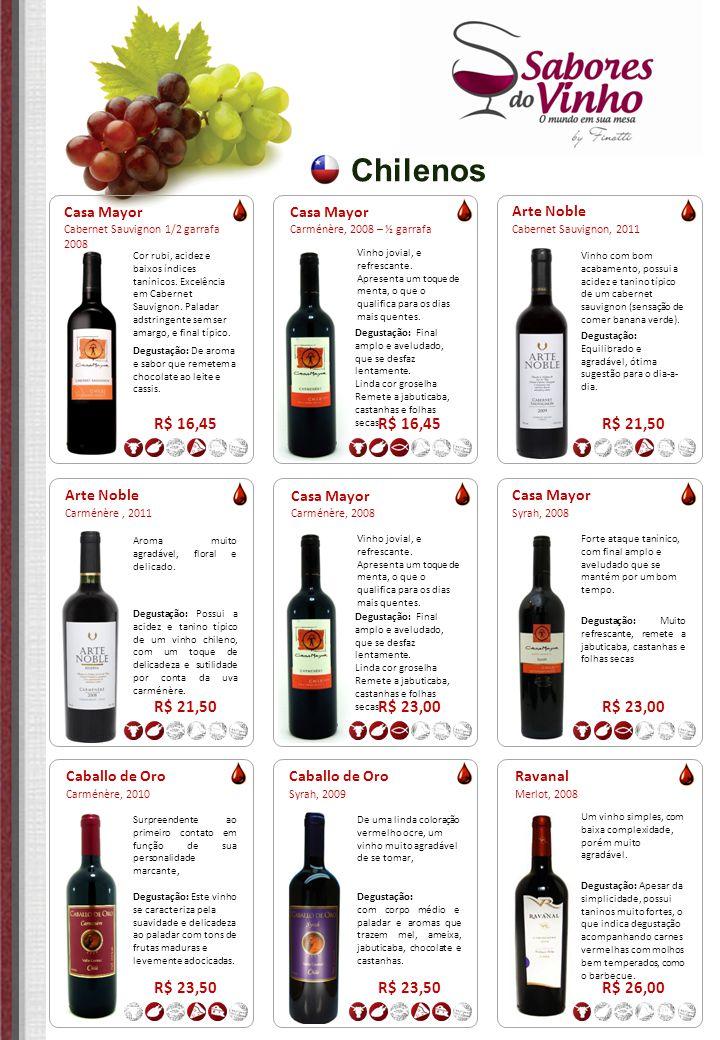 Chilenos R$ 16,45 R$ 16,45 R$ 21,50 R$ 21,50 R$ 23,00 R$ 23,00