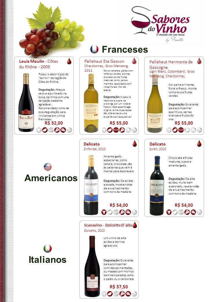 Franceses Americanos Italianos R$ 32,00 R$ 55,00 R$ 55,00 R$ 54,00