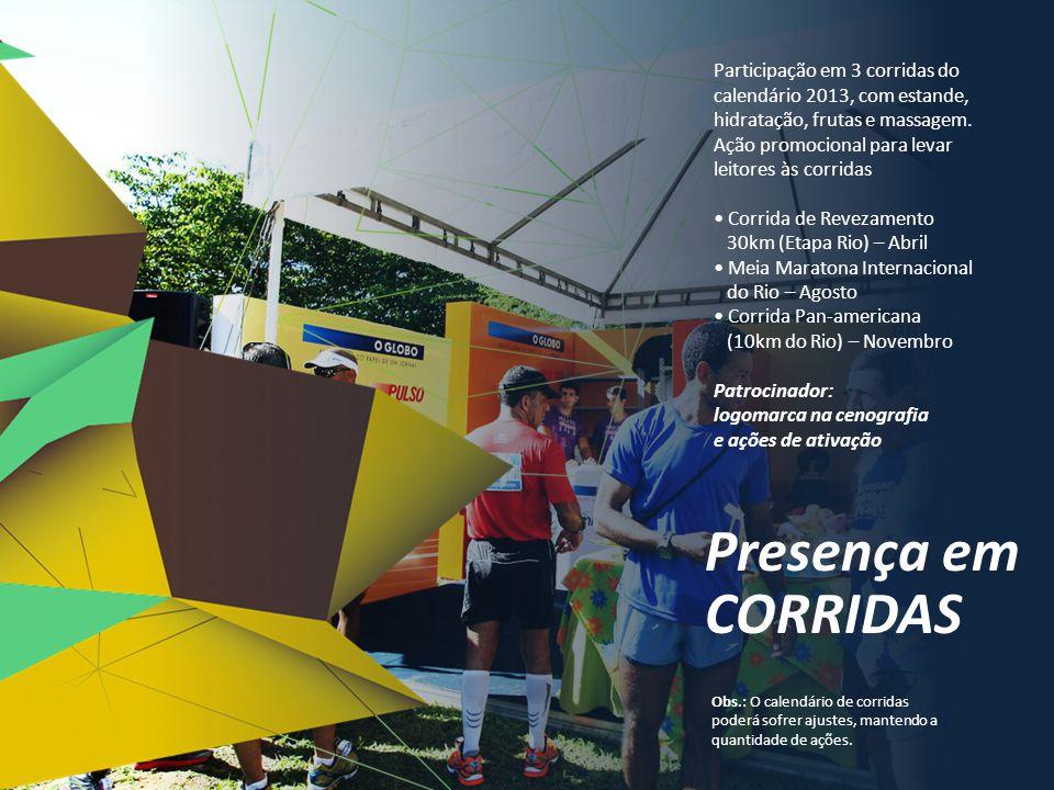 Participação em 3 corridas do calendário 2013, com estande, hidratação, frutas e massagem.