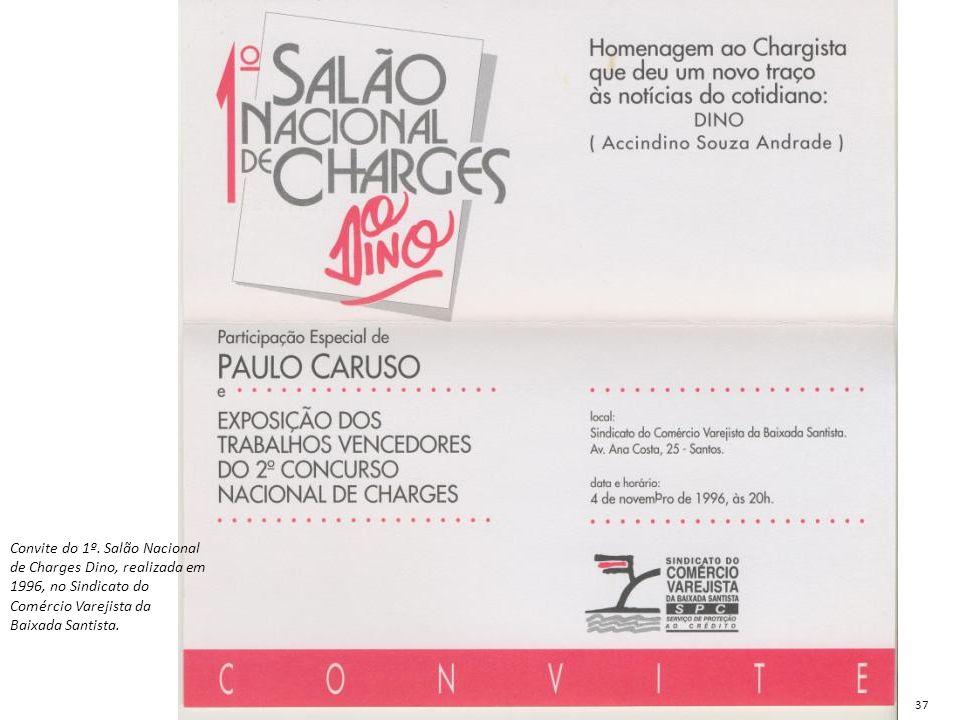 Convite do 1º. Salão Nacional de Charges Dino, realizada em 1996, no Sindicato do Comércio Varejista da Baixada Santista.