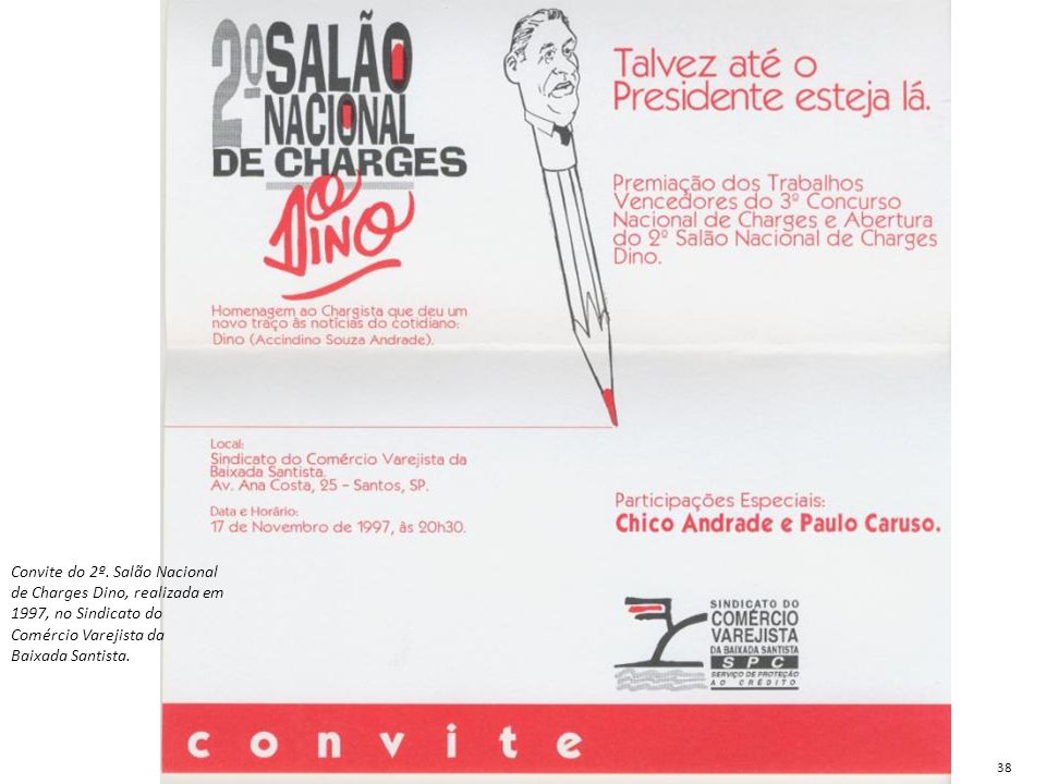 Convite do 2º. Salão Nacional de Charges Dino, realizada em 1997, no Sindicato do Comércio Varejista da Baixada Santista.