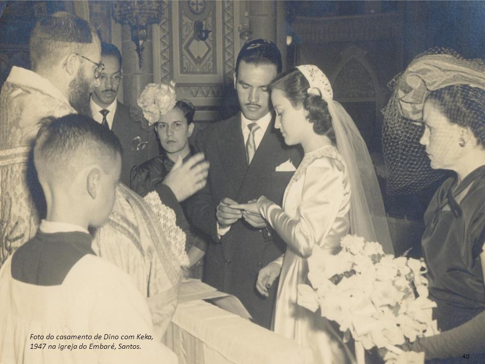 Foto do casamento de Dino com Keka, 1947 na igreja do Embaré, Santos.