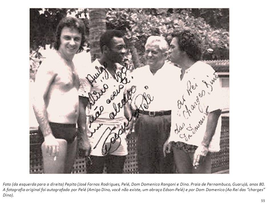 Foto (da esquerda para a direita) Pepito (José Fornos Rodrigues, Pelé, Dom Domenico Rangoni e Dino. Praia de Pernambuco, Guarujá, anos 80.