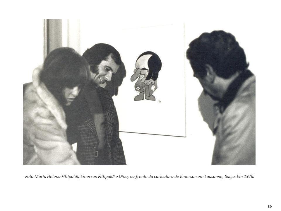Foto Maria Helena Fittipaldi, Emerson Fittipaldi e Dino, na frente da caricatura de Emerson em Lausanne, Suiça. Em 1976.