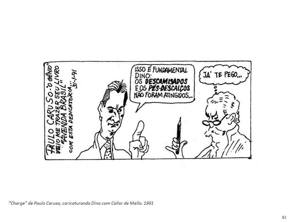 Charge de Paulo Caruso, caricaturando Dino com Collor de Mello. 1991
