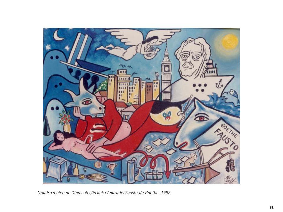 Quadro a óleo de Dino coleção Keka Andrade. Fausto de Goethe. 1992