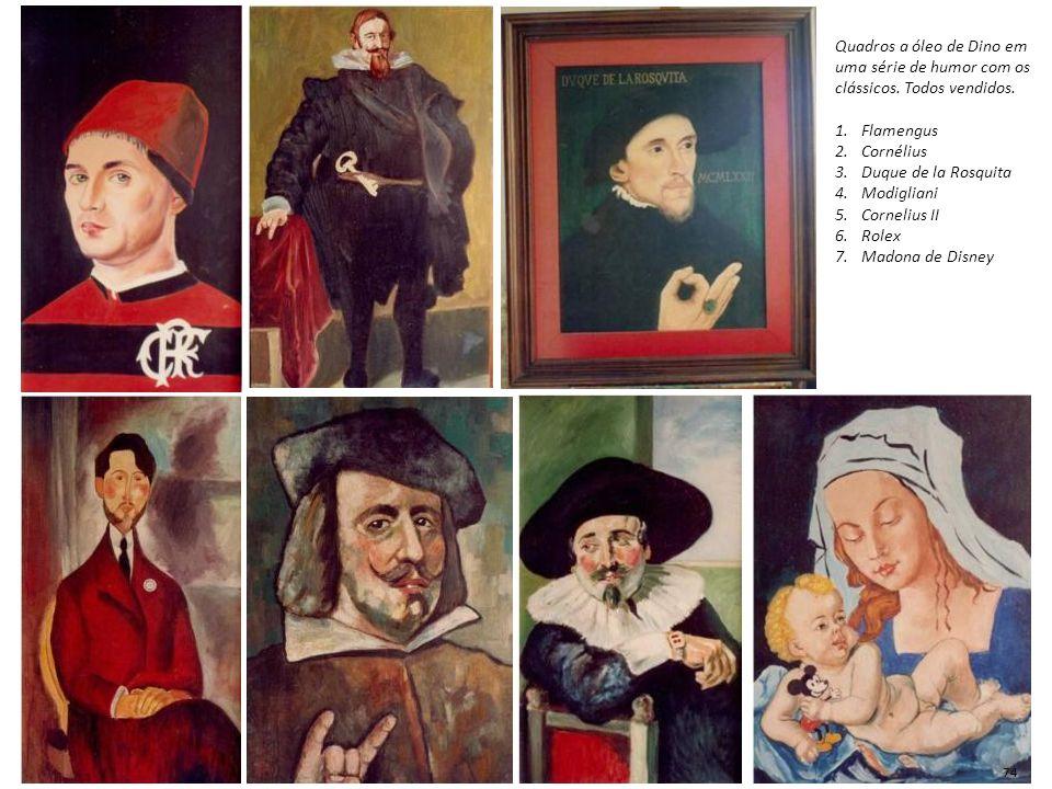 Quadros a óleo de Dino em uma série de humor com os clássicos