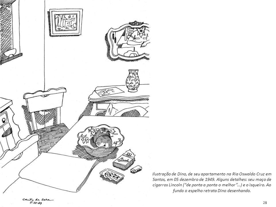 Ilustração de Dino, de seu apartamento na Ria Oswaldo Cruz em Santos, em 05 dezembro de 1949. Alguns detalhes: seu maço de cigarros Lincoln ( de ponta a ponta o melhor ...) e o isqueiro. Ao fundo o espelho retrata Dino desenhando.