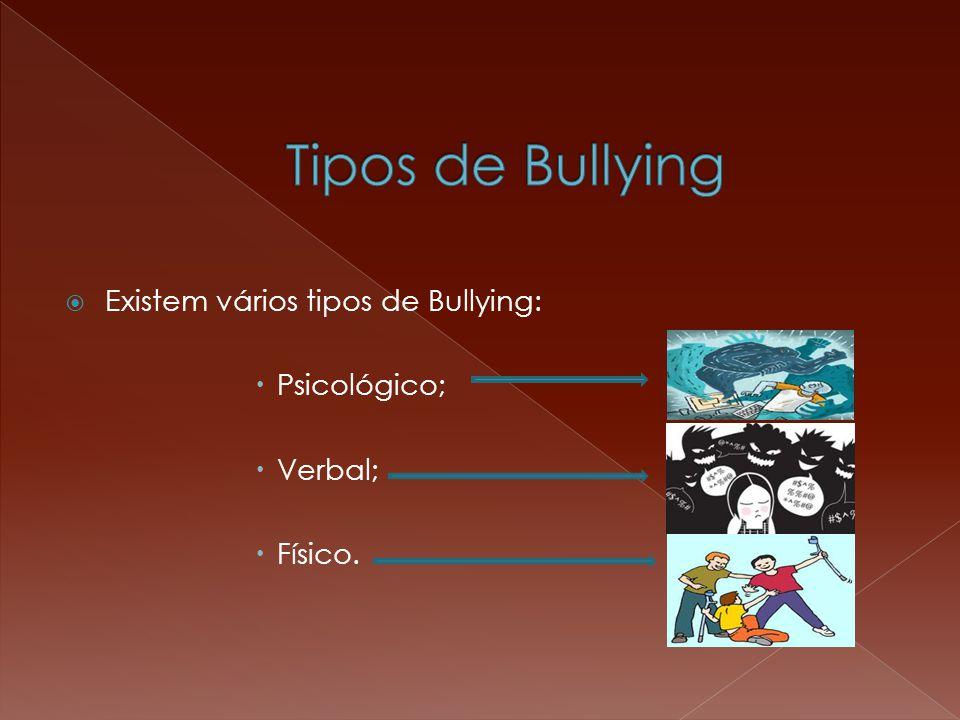 Tipos de Bullying Existem vários tipos de Bullying: Psicológico;