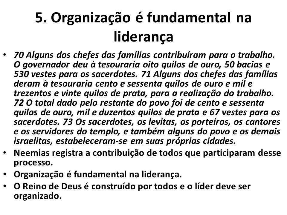 5. Organização é fundamental na liderança