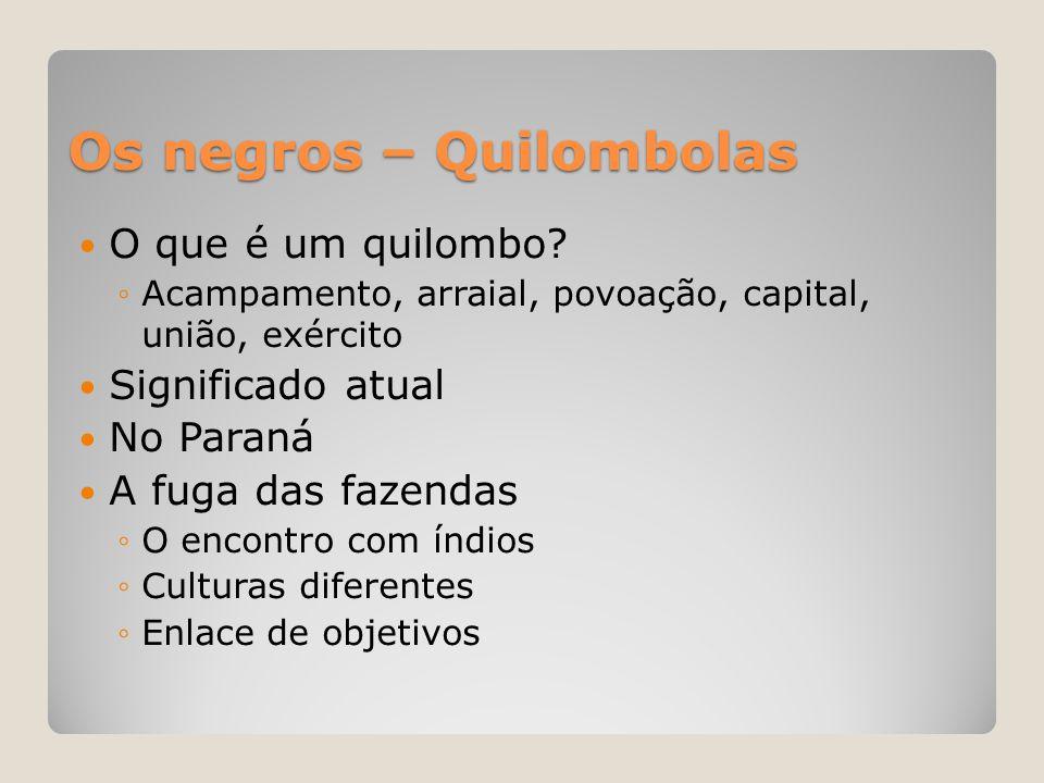 Os negros – Quilombolas