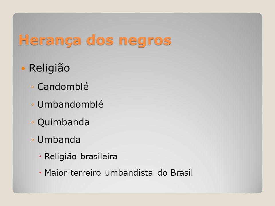 Herança dos negros Religião Candomblé Umbandomblé Quimbanda Umbanda
