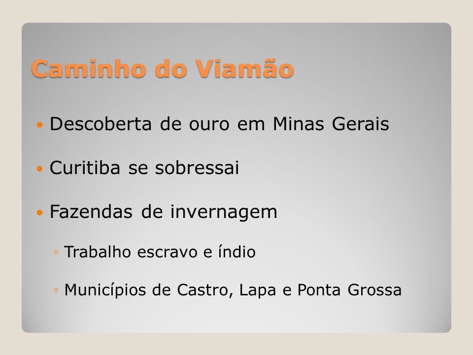 Caminho do Viamão Descoberta de ouro em Minas Gerais