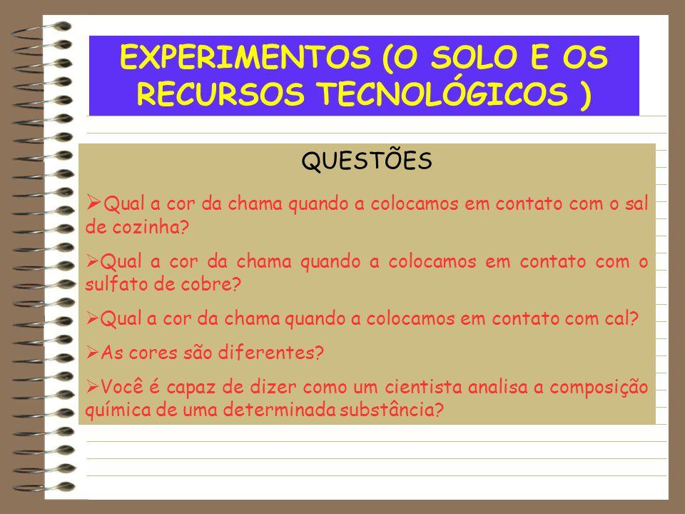 EXPERIMENTOS (O SOLO E OS RECURSOS TECNOLÓGICOS )