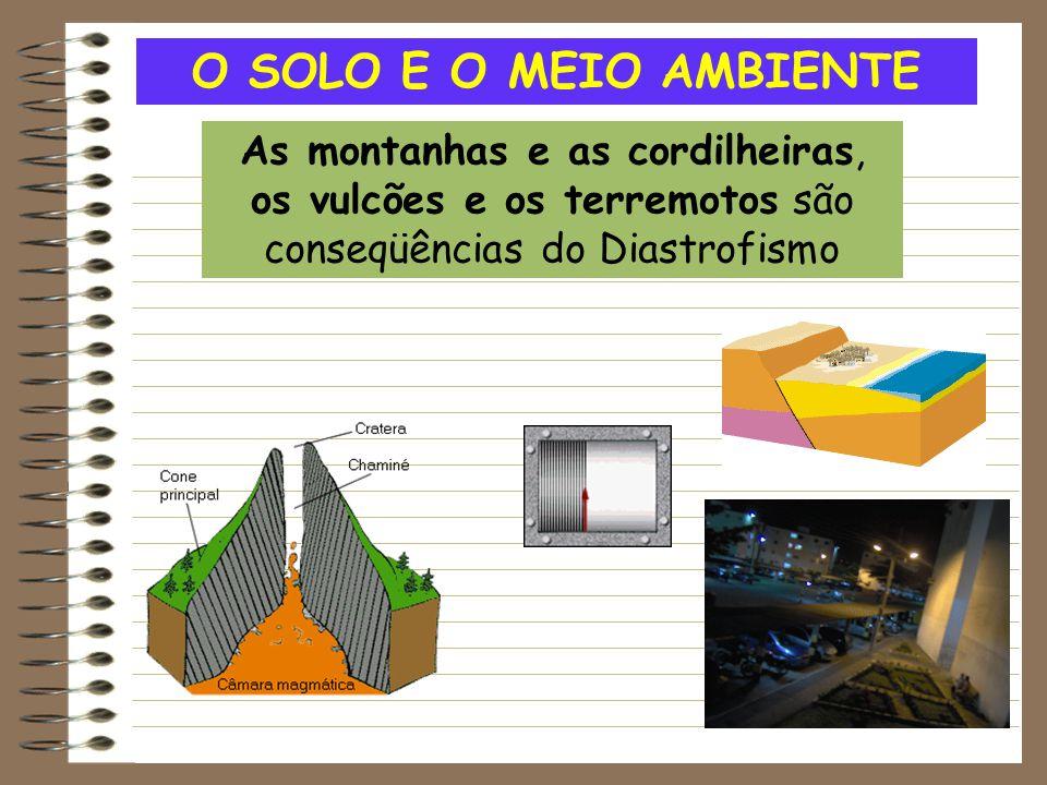 O SOLO E O MEIO AMBIENTE As montanhas e as cordilheiras, os vulcões e os terremotos são conseqüências do Diastrofismo.