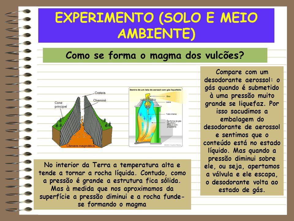 EXPERIMENTO (SOLO E MEIO AMBIENTE) Como se forma o magma dos vulcões