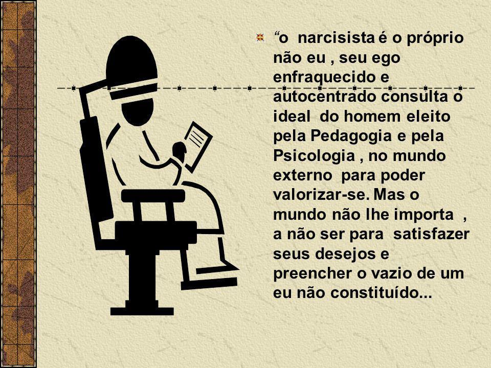 o narcisista é o próprio não eu , seu ego enfraquecido e autocentrado consulta o ideal do homem eleito pela Pedagogia e pela Psicologia , no mundo externo para poder valorizar-se.