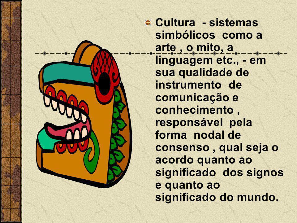 Cultura - sistemas simbólicos como a arte , o mito, a linguagem etc