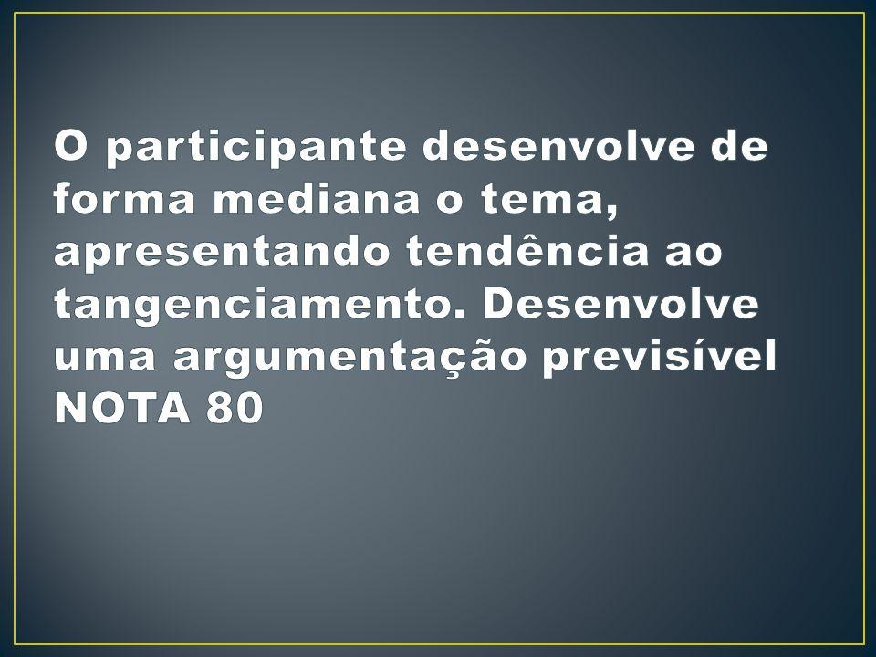 O participante desenvolve de forma mediana o tema, apresentando tendência ao tangenciamento.