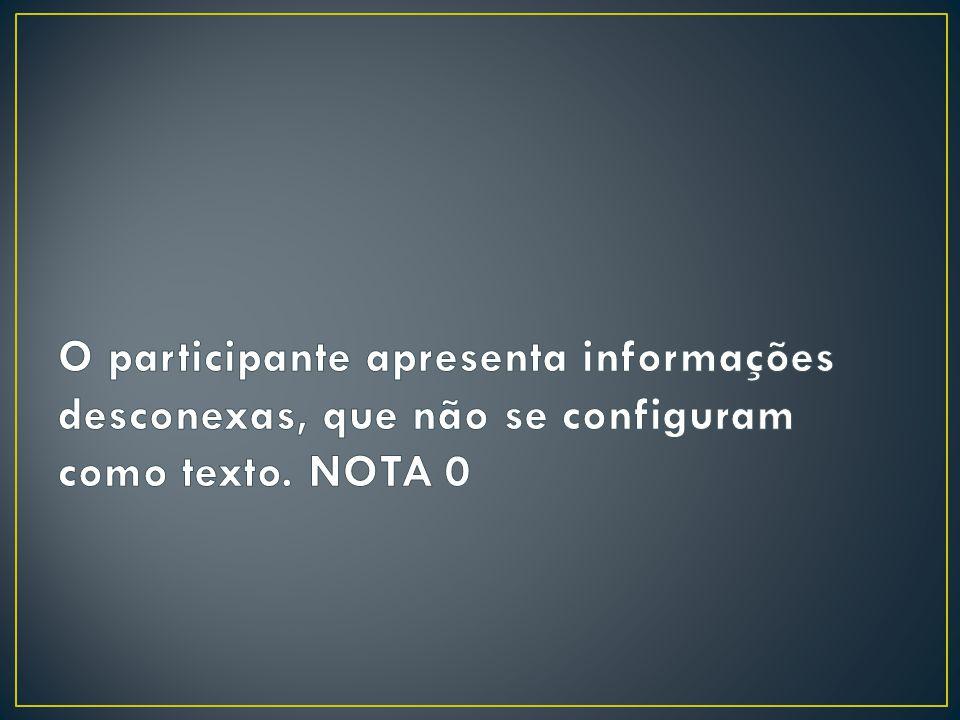 O participante apresenta informações desconexas, que não se configuram como texto. NOTA 0