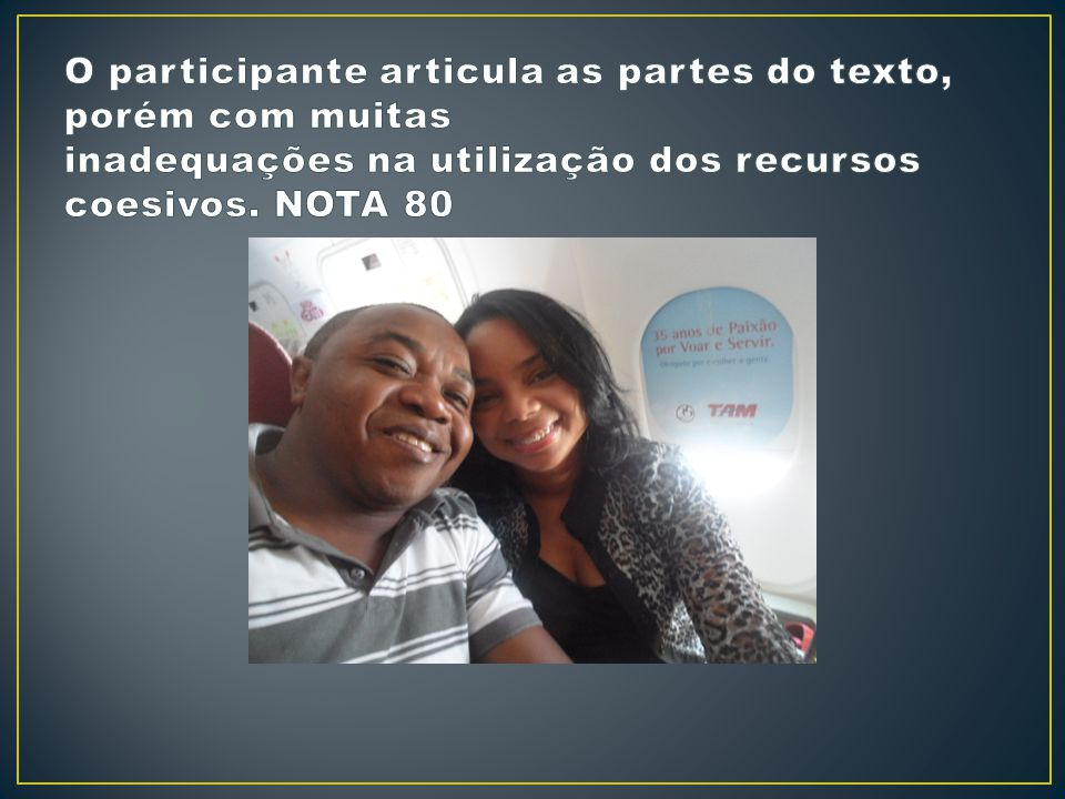 O participante articula as partes do texto, porém com muitas inadequações na utilização dos recursos coesivos.