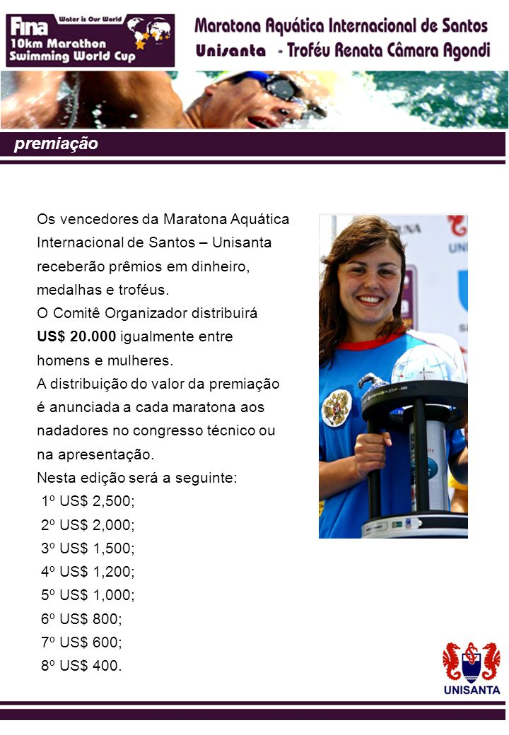 premiação Os vencedores da Maratona Aquática