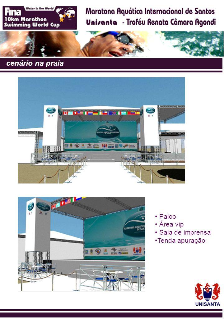 cenário na praia Palco Área vip Sala de imprensa Tenda apuração