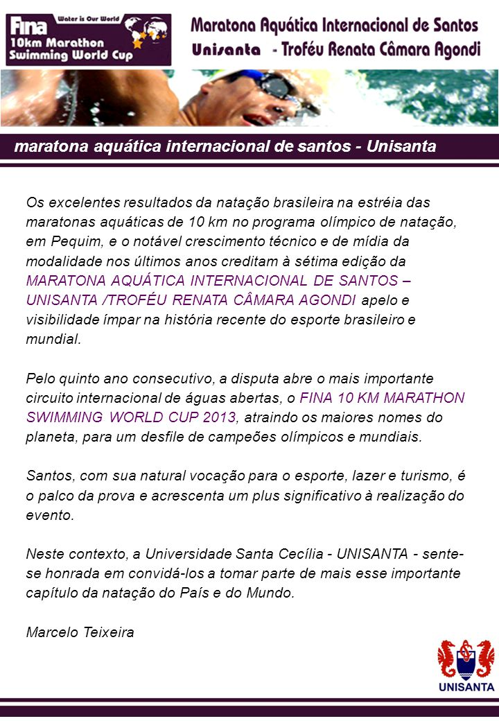 maratona aquática internacional de santos - Unisanta