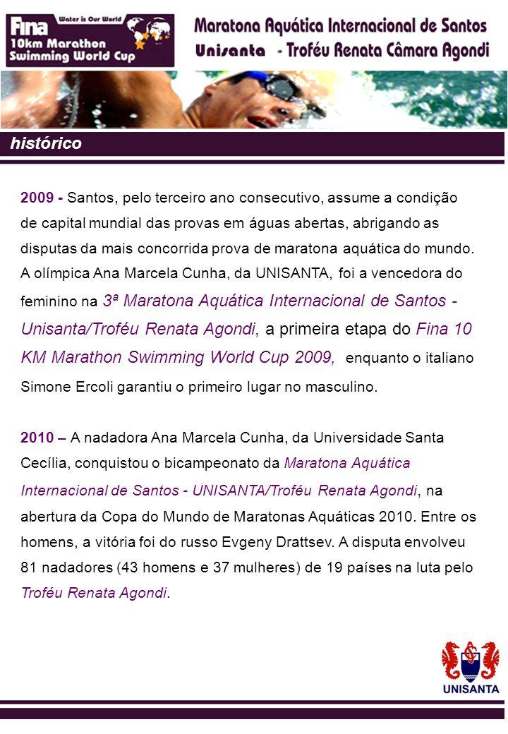 histórico 2009 - Santos, pelo terceiro ano consecutivo, assume a condição. de capital mundial das provas em águas abertas, abrigando as.
