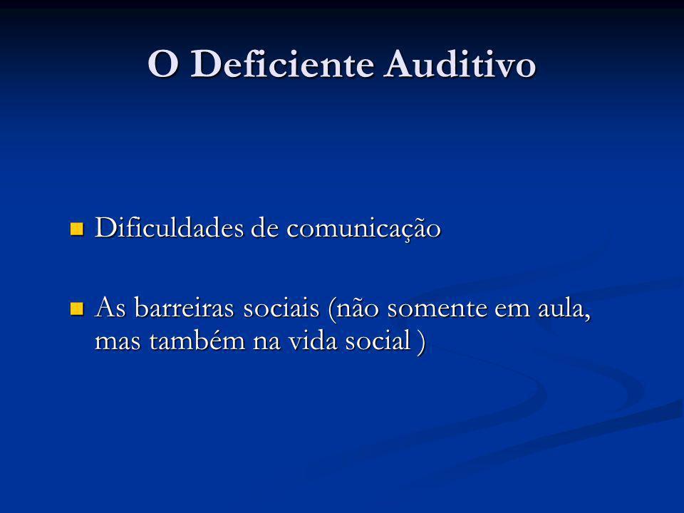 O Deficiente Auditivo Dificuldades de comunicação