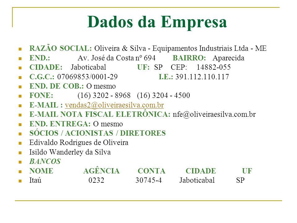 Dados da Empresa RAZÃO SOCIAL: Oliveira & Silva - Equipamentos Industriais Ltda - ME. END.: Av. José da Costa nº 694 BAIRRO: Aparecida.