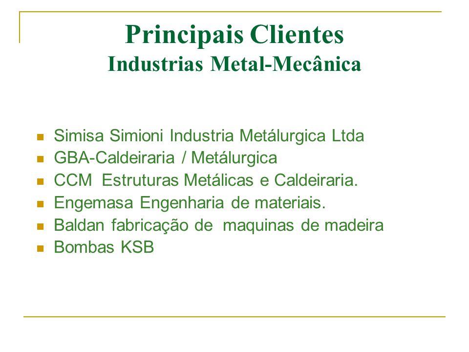 Principais Clientes Industrias Metal-Mecânica