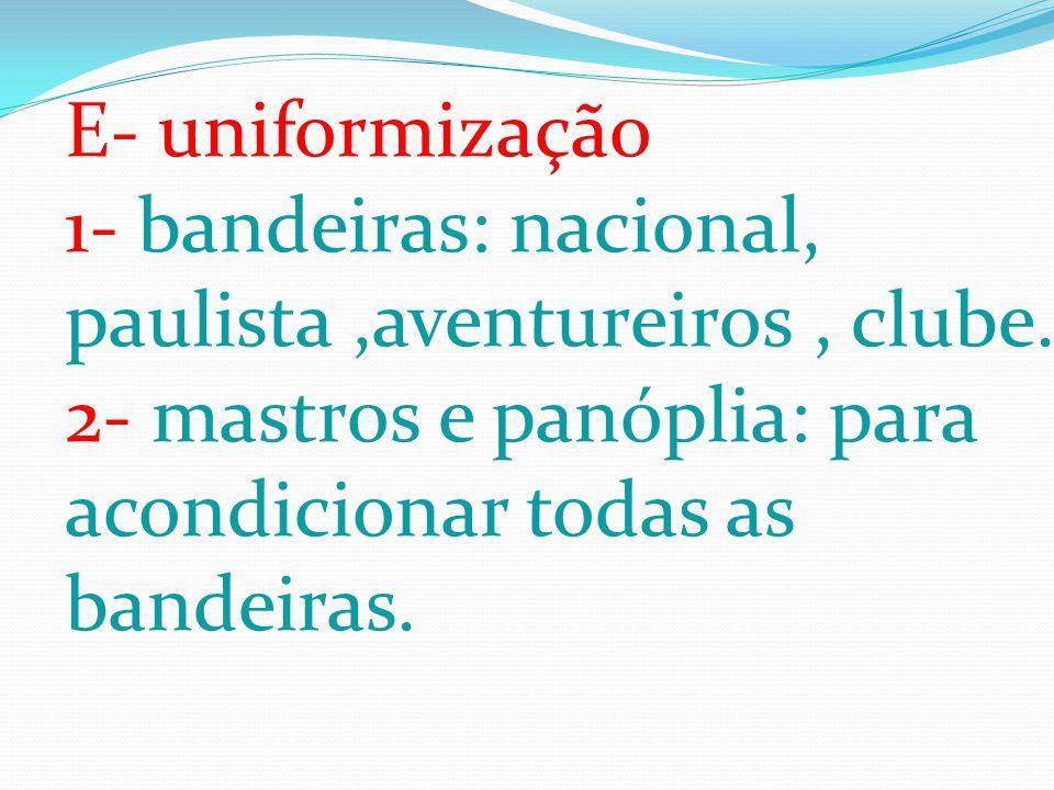 E- uniformização 1- bandeiras: nacional, paulista ,aventureiros , clube.