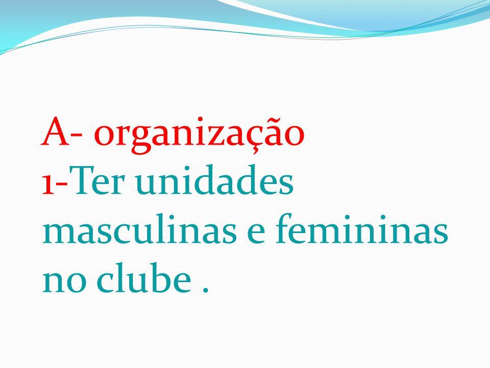 A- organização 1-Ter unidades masculinas e femininas no clube .