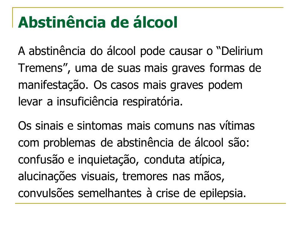 Abstinência de álcool A abstinência do álcool pode causar o Delirium