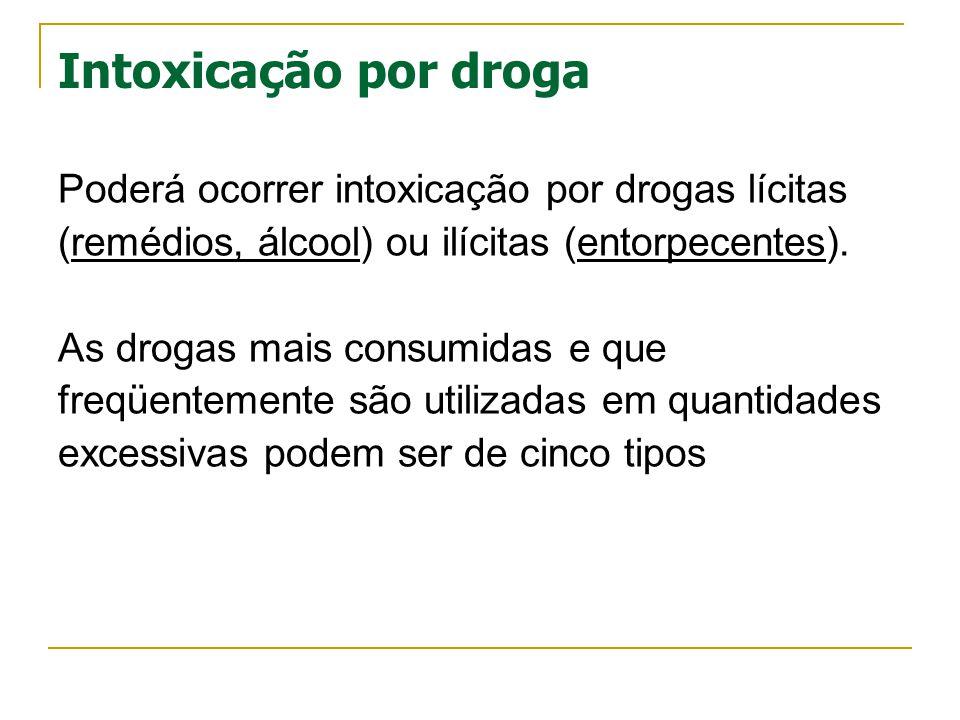 Intoxicação por droga Poderá ocorrer intoxicação por drogas lícitas