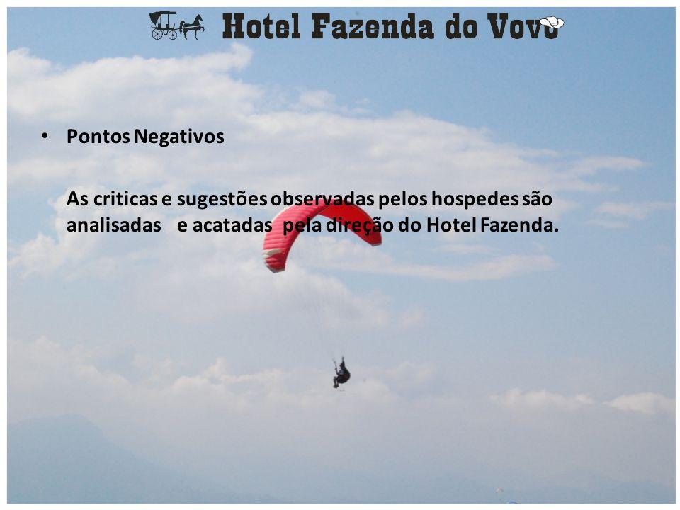 Pontos Negativos As criticas e sugestões observadas pelos hospedes são analisadas e acatadas pela direção do Hotel Fazenda.