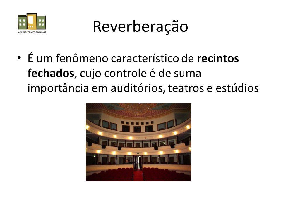 Reverberação É um fenômeno característico de recintos fechados, cujo controle é de suma importância em auditórios, teatros e estúdios.