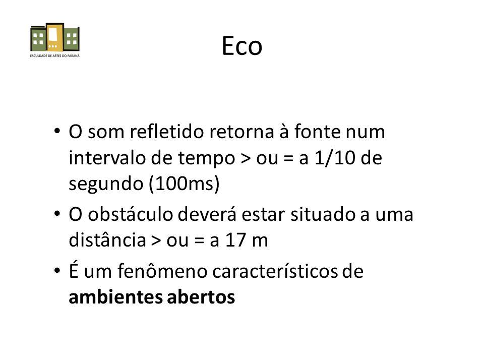 Eco O som refletido retorna à fonte num intervalo de tempo > ou = a 1/10 de segundo (100ms)