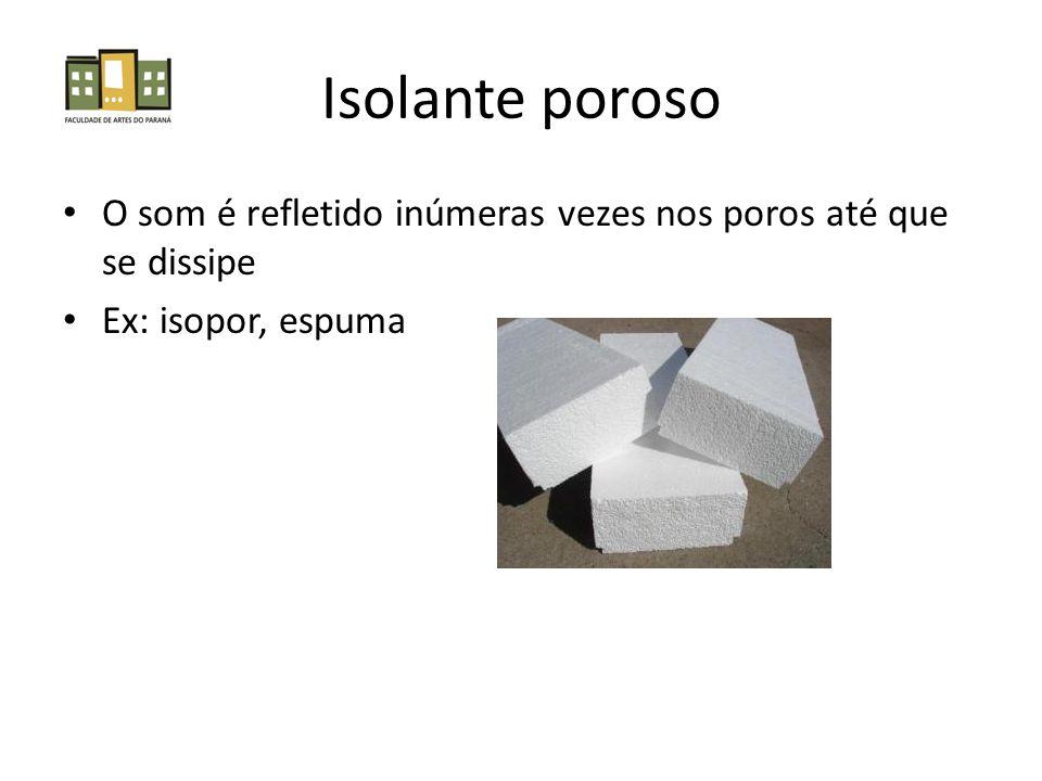 Isolante poroso O som é refletido inúmeras vezes nos poros até que se dissipe Ex: isopor, espuma